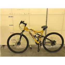 YELLOW SCHWINN GRANDE 6.1 21 SPEED FULL SUSPENSION HYBRID BIKE WITH FRONT AND REAR DISC BRAKES