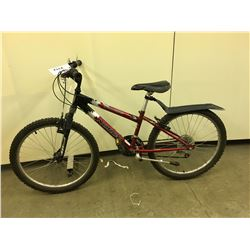RED AND BLACK NORCO DETONATOR 18 SPEED KIDS FRONT SUSPENSION MOUNTAIN BIKE