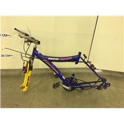 BLUE SUPERCYCLE MBX 1000 MOUNTAIN BIKE, NO WHEELS OR SEAT