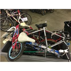 LOT OF ASSORTED BIKES, FRAMES AND WHEELS