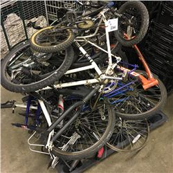 PALLET OF ASSORTED BIKES, PARTS, AND WHEELS