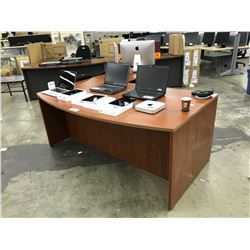 LIGHT CHERRY 6' BOWFRONT RIGHT HAND EXECUTIVE DESK