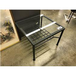 GLASS TOP METAL FRAME 30'' X 30'' COFFEE TABLE