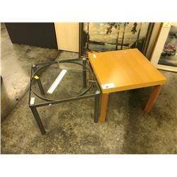 GLASS  2' X 2' AND MAPLE 2' X 2' END TABLES