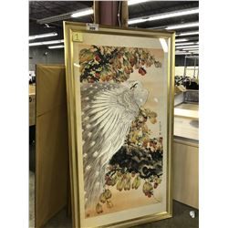 ORIGINAL WATERCOLOUR PAINTING OF PEACOCK WITH LYCHEE NUTS ON TREE LIMB, SIGNED LOWER RIGHT,
