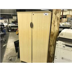 2 MAPLE 6' DOUBLE DOOR STORAGE CABINETS AND CONTENTS, MUST TAKE ALL