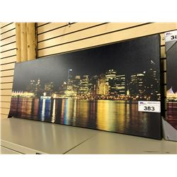 VANCOUVER COAL HARBOUR AT NIGHT CANVAS PRINT, 48'' WIDE