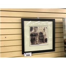 """FRAMED WATER COLOUR PRINT, """"VOLTERRA TUSCANA"""", SIGNED LOWER RIGHT, 20'' X 20''"""