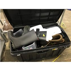 BOX OF ASSORTED HIKING BOOTS, WORK BOOTS, BATTERY CHARGERS AND MORE, LARGE PLASTIC CASE INCLUDED