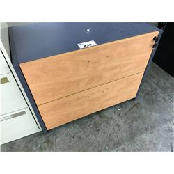 LOT OF APPROX. 8 MISC. 2 DRAWER LATERAL FILE CABINETS AND READY TO ASSEMBLE OFFICE FURNITURE