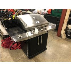 CHAR BROIL 4 BURNER STAINLESS BBQ WITH SIDE BURNER AND COVER