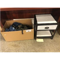 BOX OF ASSORTED MENS' CLOTHING, AND SMALL END TABLE