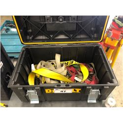 TOOL BOX WITH ASSORTED STRAPS AND KICKER SUBWOOFER