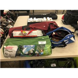 LOT OF ASSORTED CAMPING GEAR, AND BAG OF BASEBALL GLOVES