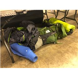 LOT OF ASSORTED CAMPING GEAR AND YOGA MAT