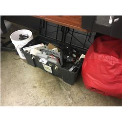 BIN OF ASSORTED STAPLES, HAND TOOLS AND RED BEAN BAG CHAIR