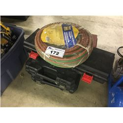 LOT OF EMPTY TOOL BOXES AND 50' X 1/4'' OXY-ACETYLENE HOSE