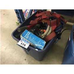 BOX OF ASSORTED HAND, POWER TOOLS, AND STRAPS/HARNESSES