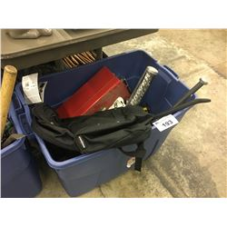 BOX OF ASSORTED HAND AND POWER TOOLS