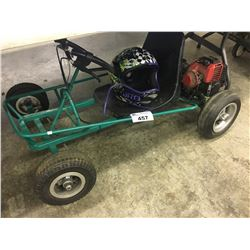 GAS POWERED GO CART AND HELMET, NOT WORKING, PARTS