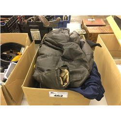 BOX OF ASSORTED CLOTHING AND LINENS