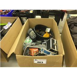 BOX OF ASSORTED HOUSEHOLD ITEMS AND CLIMBING GEAR