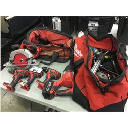 LOT OF ASSORTED MILWAUKEE POWER TOOLS INC. BAGS AND CONTENTS