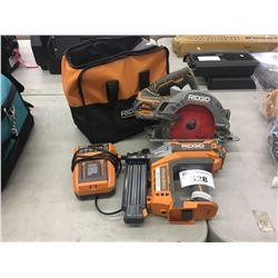 ASSORTED RIDGID POWER TOOLS AND BAG