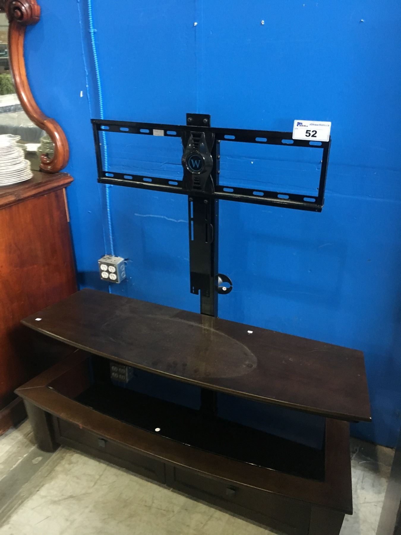 Wood And Glass Tv Stand With 2 Drawers And Mount