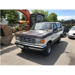 1988 FORD BRONCO XLT, 2DR, BROWN, VIN # 1FMEU15N0JLA47612