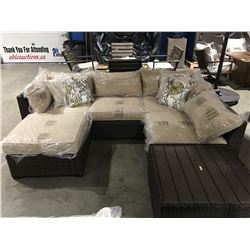 6 PCS. BROWN & BEIGE OUTDOOR PATIO SECTIONAL SOFA SET WITH 4 THROW CUSHIONS