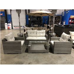 4 PCS. GREY & WHITE SANTANA OUTDOOR PATIO SET - LOVE SEAT 2 CHAIRS & GLASS TOP TABLE