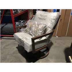 OUTDOOR PATIO SPRING ROCKER CHAIR, BROWN ALUMINUM FRAME WITH GREY CUSHIONS