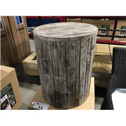 PAIR OF RECLAIMED WOOD OUTDOOR WOODEN PATIO SIDE TABLES