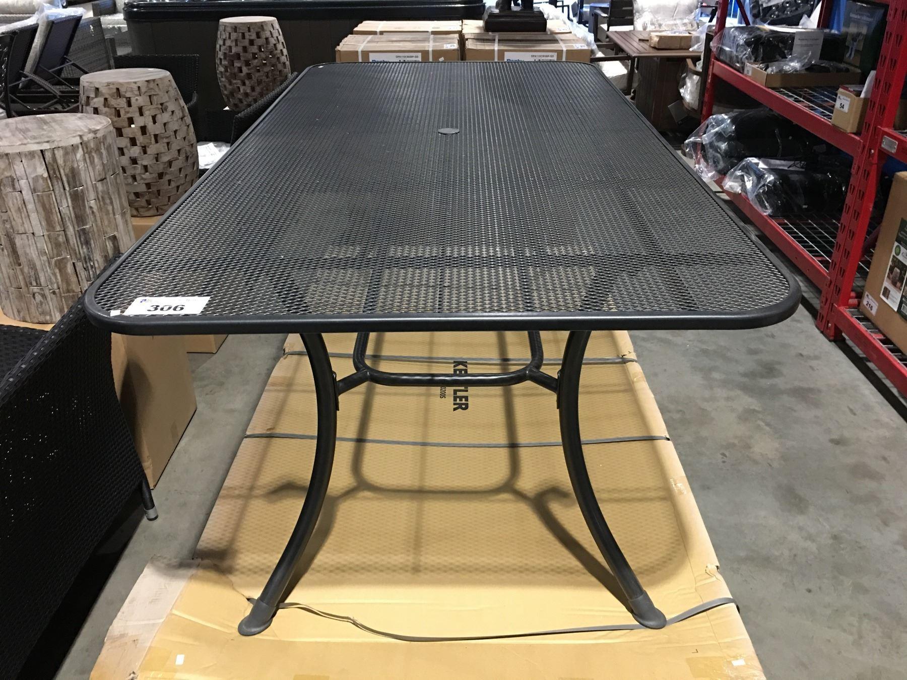 """KETTLER MESH TOP OUTDOOR PATIO TABLE WITH UMBRELLA HOLE, GREY 11""""X11"""""""