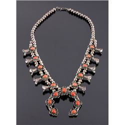 Navajo Sterling Silver and Coral Squash Blossom