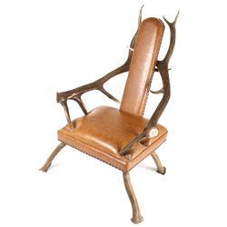 Rustic 6x6 Montana Elk Antler Leather Lounge Chair