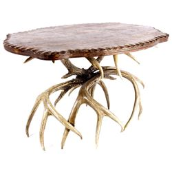 Antique Carved Wood & Whitetail Deer Antler Table