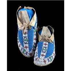 Lakota Sioux Fully Beaded Moccasins c. 1870-1890