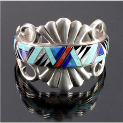 Signed Robert Chee Navajo Sterling Silver Cuff