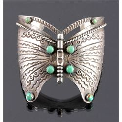 Navajo Sterling Silver Turquoise Butterfly Cuff