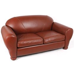 Rustic Crimson Red Leather Loveseat Couch