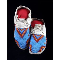 Teton Sioux Fully Beaded Moccasins c. 1900-