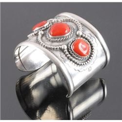 Signed navajo Sterling Silver Coral Cuff