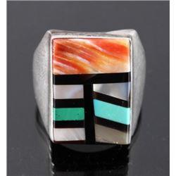 Signed Navajo Sterling Silver Inlaid Mosaic Ring