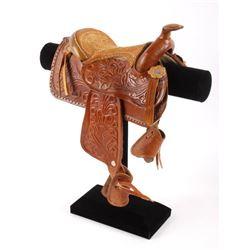 Salesman Sample Leather Saddle & Stand