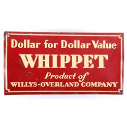 Willys-Overland Co Whippet Embossed Tin Sign c1926