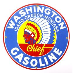 Porcelain Enamel Washington Chief Gasoline Sign