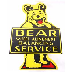 Bear Wheel Alinement Service Porcelain Enamel Sign