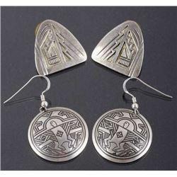 Native American Engraved Sterling Earrings (2)
